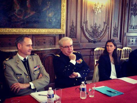 Notre membre Lorraine de Groote aux côtés de l'Amiral Bernard Rogel au Palais de l'Élysée